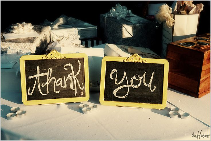 """Thank You"" chalkboard signs on the gift table - Photo by Jason"
