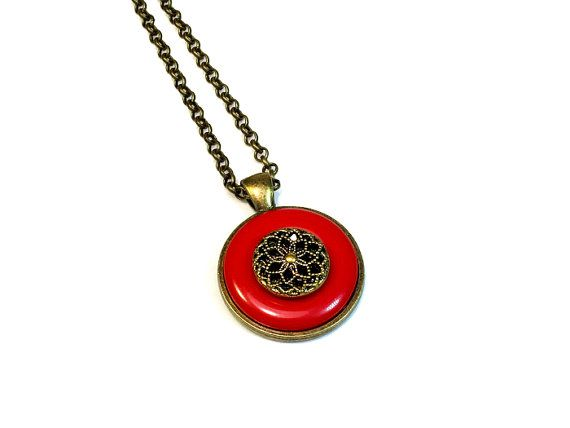 Upcycled Jewelry Red Button Necklace Pendant, Repurposed Buttons