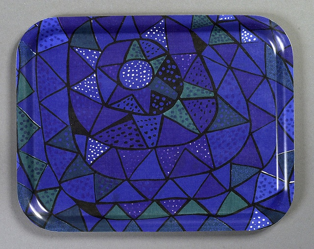 Birchwood tray with fabric designed by VIOLA GRÅSTEN, Oomp. Print on cotton for NK Textile Design Studio. 1950s