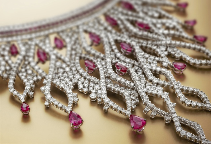 Rania by #Chimento #Couture: white #gold #necklace with #diamonds and #rubies