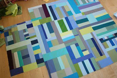 love this! improv/slab pieced quilt via crazy mom quiltsImprovements Slab Piece, Improvements Piece, Piece Quilt, Blue Green, Crazy Mom, Happy Colors, Colors Combinations, Mom Quilt, Improvements Quilt