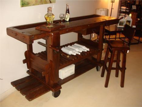 Mesa banco carpintero bar alta con ruedas bodegas y - Decoracion con ruedas ...