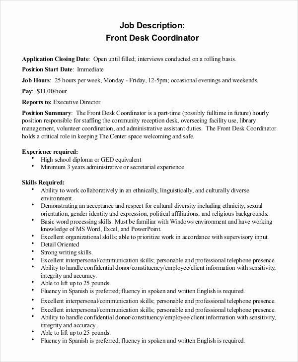 Hotel Front Desk Job Description Resume Luxury Hotel Front Desk Job Description