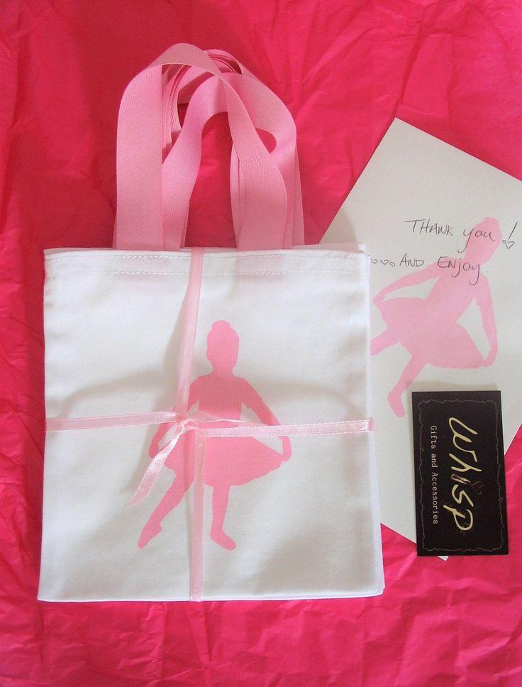 BALLET/BALLERINA GIRLS Mini Totes, White Cotton Favor Gift Party Bags, Free Std.Shipping Worldwide by WHISPbyAdri on Etsy