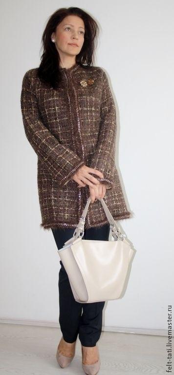"""Купить Валяное Пальто """" Симфония осени"""" - коричневый, в клеточку, пальто, пальто валяное"""