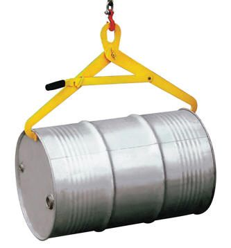Horizontal Semi-Automatic Drum Tong Made to lift drums with an overhead hoist. Suitable for open top or tight head steel drum and plastic drums which have a ring. To operate set locking lever in locked open position. When central over the horizontal drum release lever to allow hooks to fall and locate under both rims.  Hook automatically engage as it is lifted and disengage as drum is set down