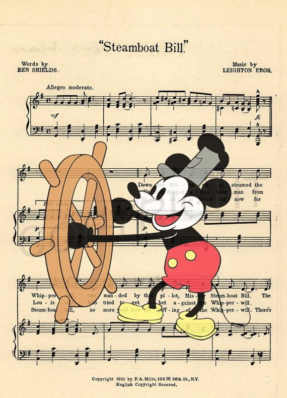 Vintage Mickey Steamboat Willie Sheet Music Art par AmourPrints