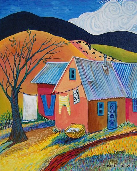 Wash Day ~ Sally Bartos, New Mexico Artist