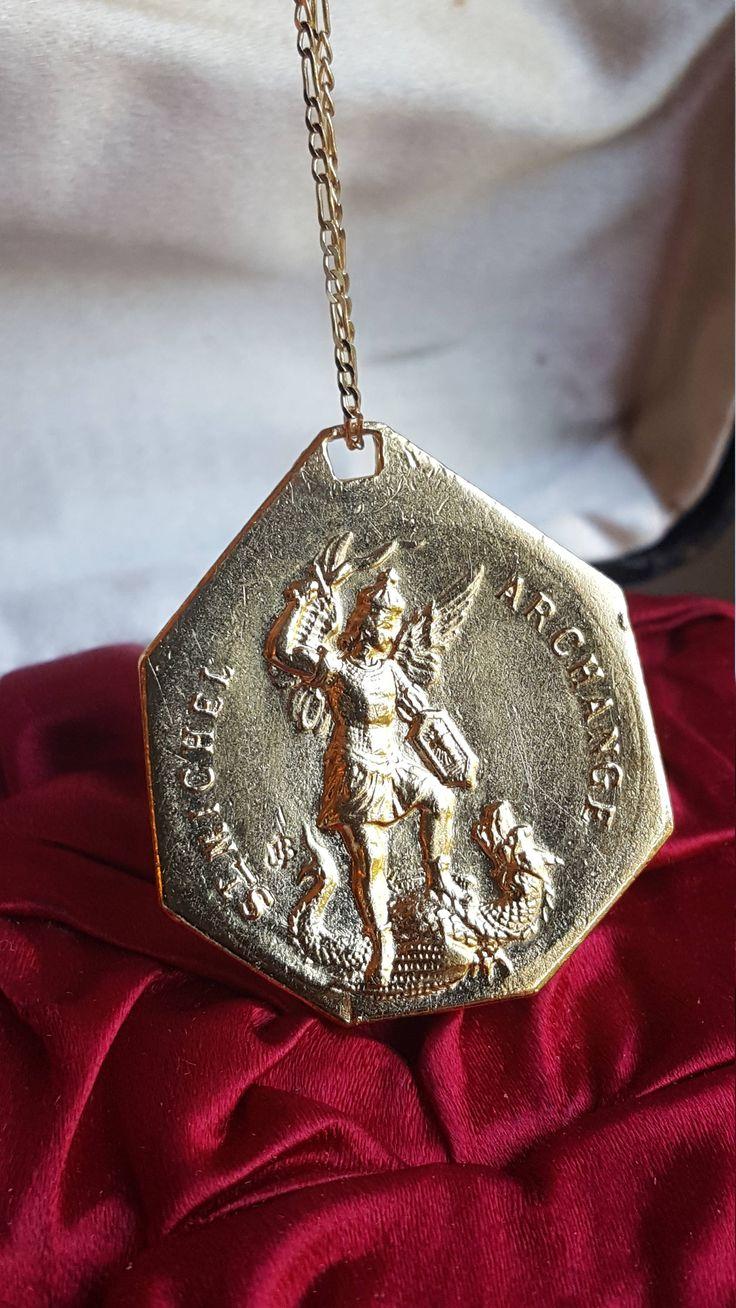 18K Gold Plated French Saint Christopher and Saint Michael Medal Pendant Catholic Jewelry Archangel Traveler Saint Talisman by SacredBarcelona on Etsy
