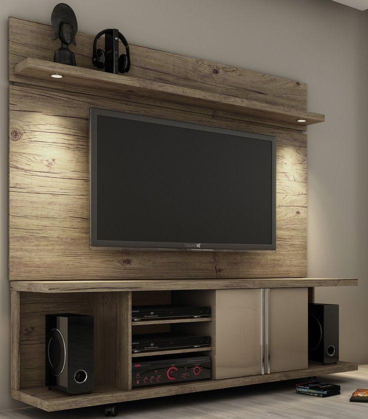 Rack com painel para tv em madeira