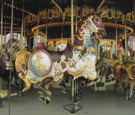 Salamander Horse on Euro Disney Carousel. The salamander is  the emblem of King Francois 1