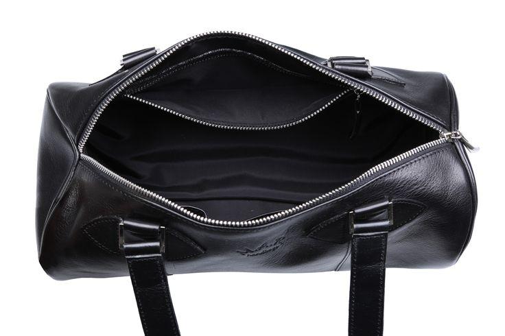 Inside #black #leather #handbag #cylinder #barrelbag