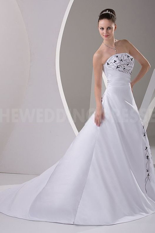 Strapless Unique White Bridal Gowns - Order Link: http://www.theweddingdresses.com/strapless-unique-white-bridal-gowns-twdn4025.html - Embellishments: Beading; Length: Floor Length; Fabric: Satin; Waist: Natural - Price: 171.3012USD