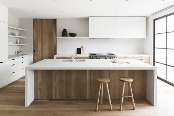 sleek modern kitchen in white + wood                                                                                                                                                      More