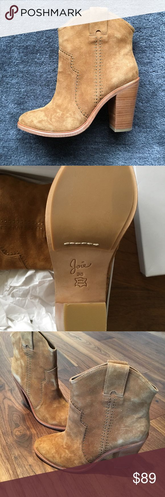 Joie ankle boots. Whiskey suede. Never worn! Joie ankle boots. Whiskey color, burnished suede. Brand new, Never worn! Perfect Condition, not a single scuff on soles or bottom. Very cute gold sequins line the leather. Size 8/Euro size 38. Joie Shoes Ankle Boots & Booties