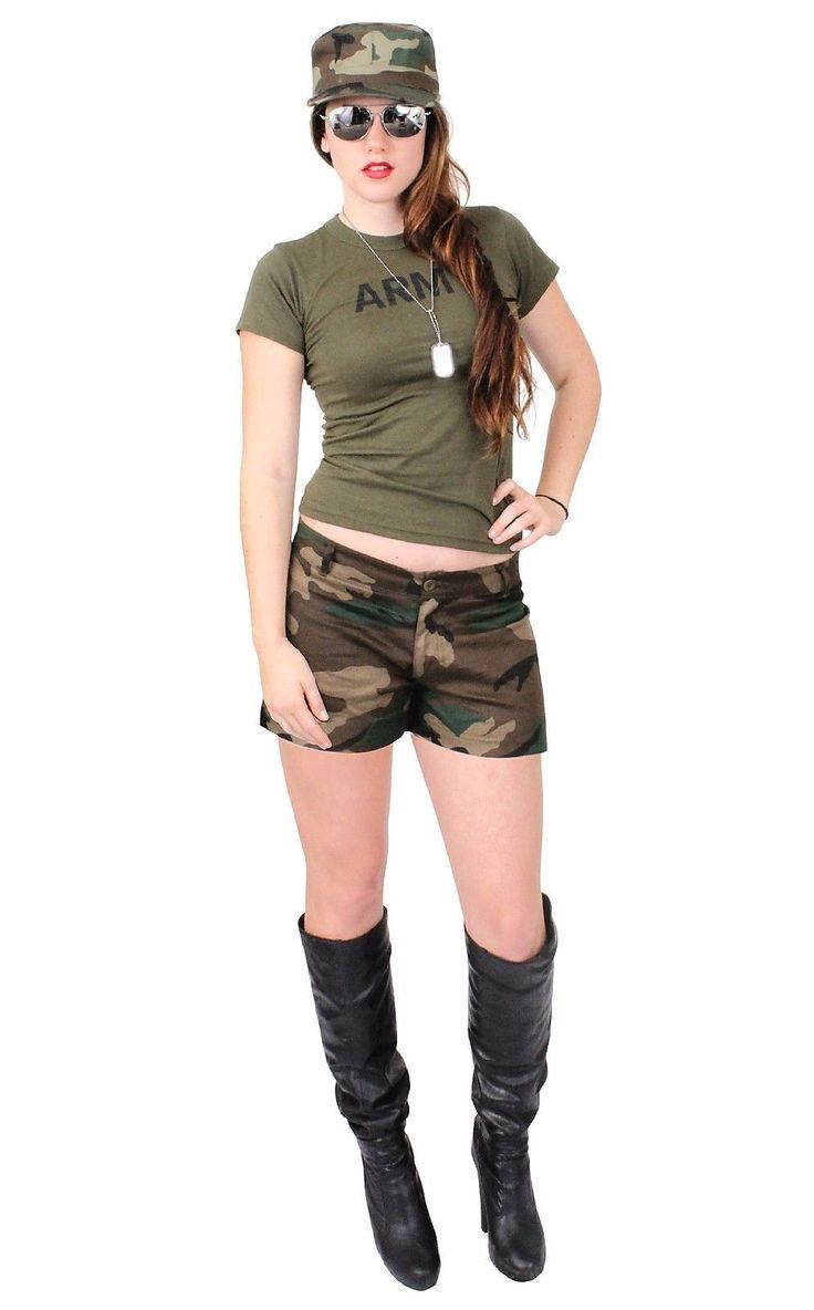 Sexy Army Chick Costume Military Adult Woman Hot Girl Camo Halloween Costumes