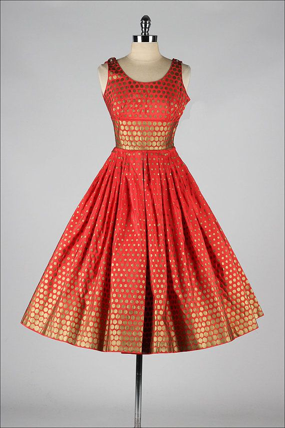 vintage 1950s red and gold polka dot dress