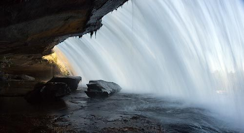 We have an abundance of waterfalls in the western Carolinas.  These are my favorite.  These are Bridal Veil Falls.
