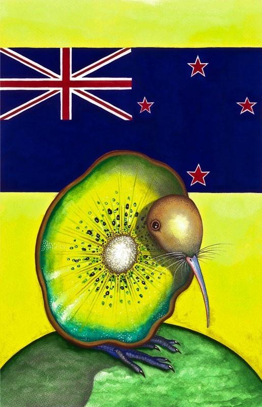 New Zealand Kiwi by hartelart on Etsy,