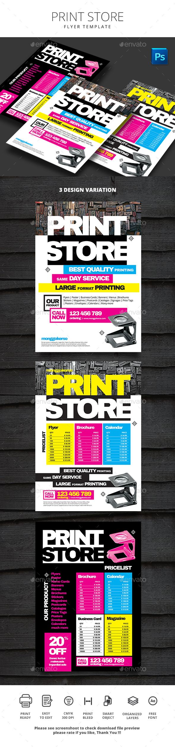 Print Store Flyer  — PSD Template #printer #corporate • Download ➝ https://graphicriver.net/item/print-store-flyer/18066389?ref=pxcr