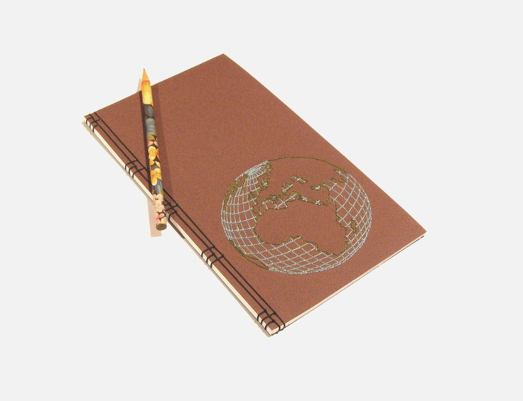 Embroidered Notebook / Globe / Earth, via Etsy.