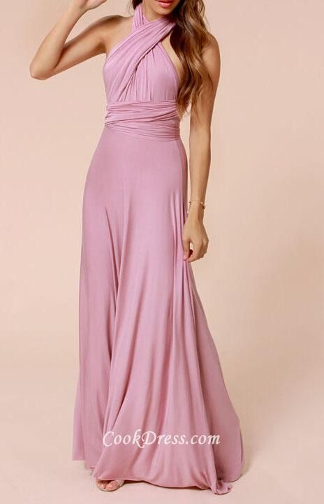 Rose pink silky chiffon bridesmaid dress gives you creative design with converted design,  <br><br>natural waist is hand ruched. Long skirt flows with natural waist wide ruched design.