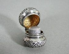 Rare Antique Sterling Silver Chatelaine Thimble Case & Thimble 1898 Reddall & Co