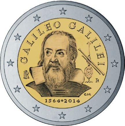 Italian commemorative 2 euro coins - 450th Anniversary of the birth of Galileo Galilei (born in 1564) Commemorative 2 euro coins from Italy