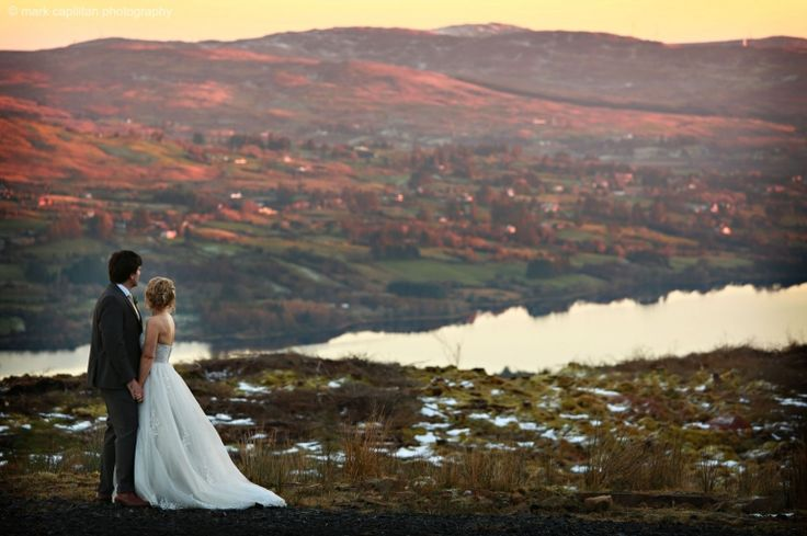 A bride & groom in the mountains above Lough Eske wedding photography Donegal