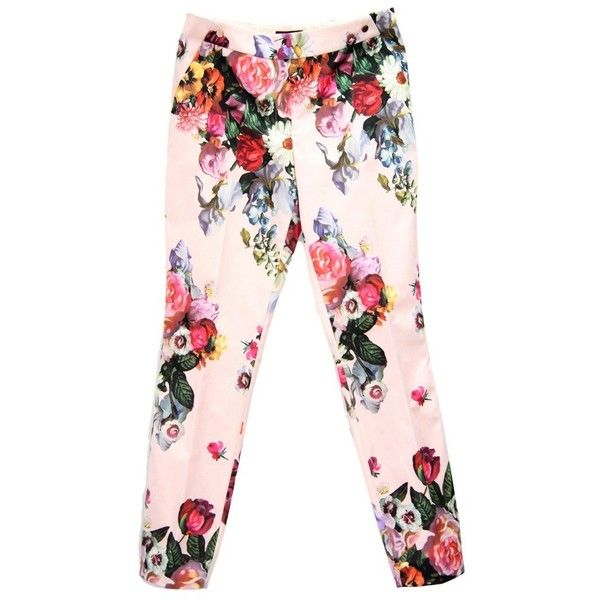Pre-owned trousers with pattern (8,340 PHP) ❤ liked on Polyvore featuring pants, black, ted baker, multi colored pants, ted baker trousers, multi color pants and print pants
