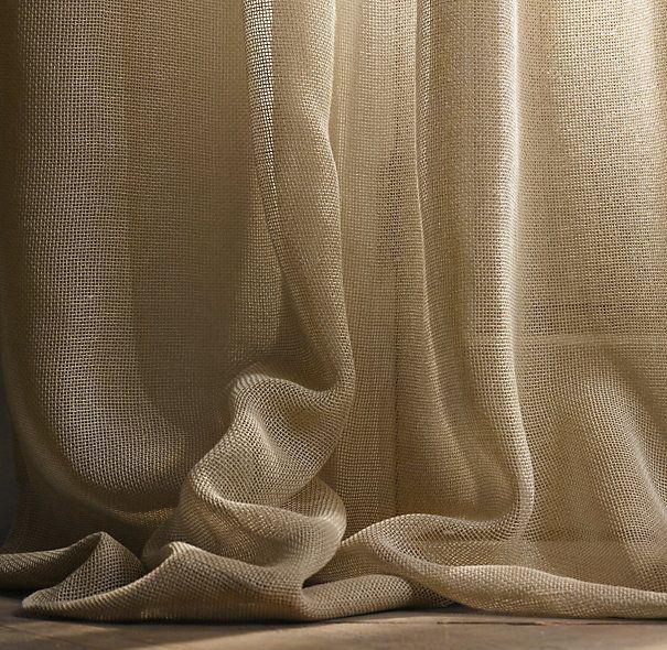 Open Weave Sheer Linen Drapery | Drapery | Restoration Hardware.  Living room?  Chocolate?