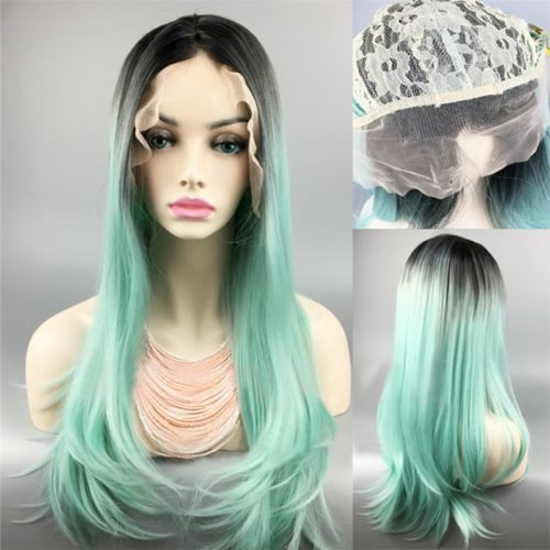 Black-Root-Green-Mix-Gradient-Hair-Heat-Resistant-Lace-Front-Wig-Part-Bangs-Wig