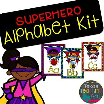 Superhero Alphabet Kit (Posters and Word Wall Headers)