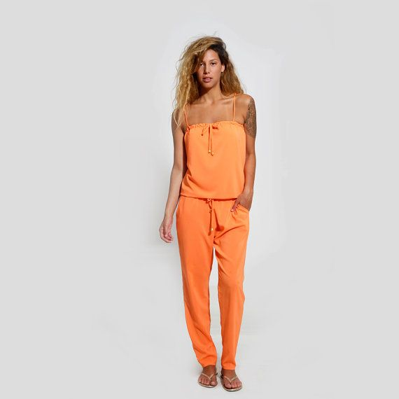 Orange Jumpsuit Sexy Romper Summer Cocktail Wear by ElianaStudio, $132.00