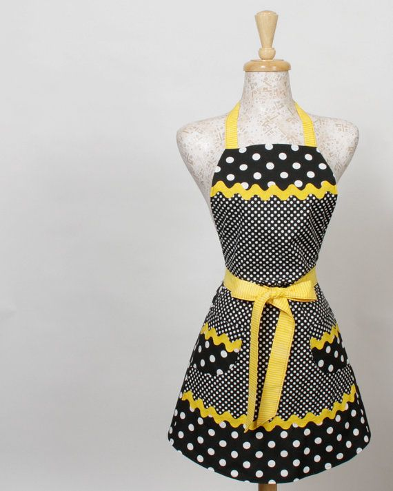 Black Yellow RicRac Apron Black and White Polka Dots by apronqueen, $30.95