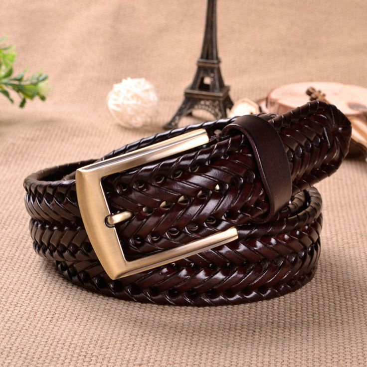 Woven belts both men and women Leather woven belt restoring ancient ways The cowboy belts fashion Hipster necessary $12.77
