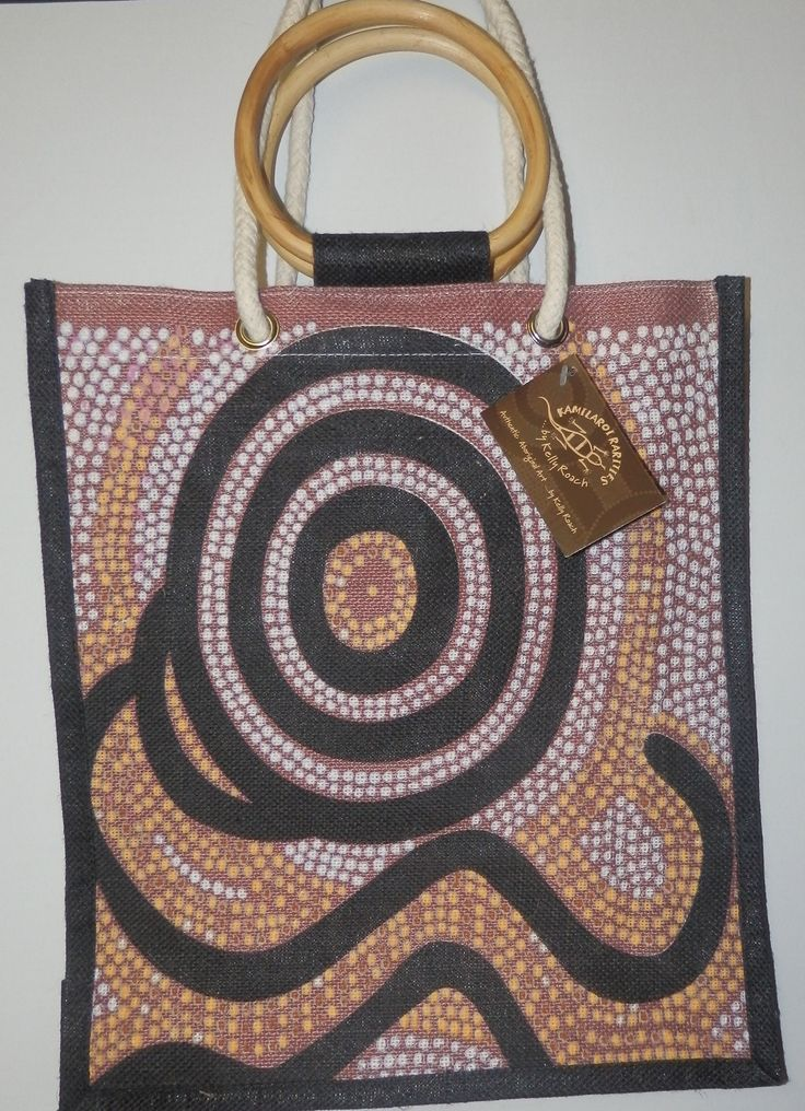 Kamilaroi design Jute Bag Creation of Gaayli Artist: Kelly Roach made from Jute in China size: 33cm x 39cm with 23cm gusset long cord and bamboo handles Code: JUTE-CG06 Price: $9.00