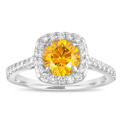 Yellow Diamond Engagement Ring, Canary Yellow Diamond Bridal Ring, Cushion Cut Ring 1.58 Carat 14K White Gold Unique Halo Certified Handmade