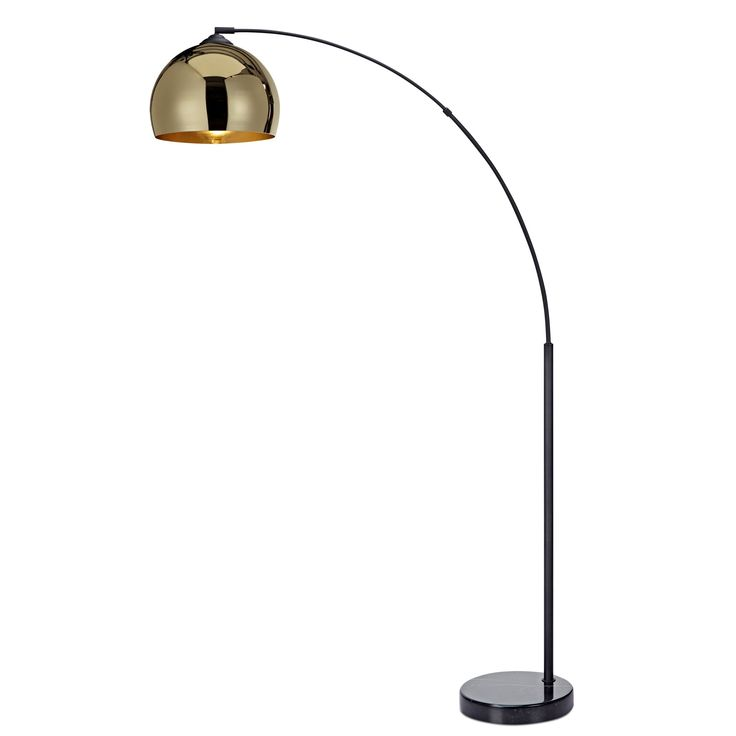 teamson versanora arquer arc floor lamp with gold shade and black marble base