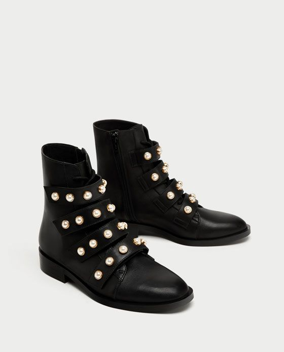 ZARA - TRF - LEATHER ANKLE BOOTS WITH FAUX PEARLS