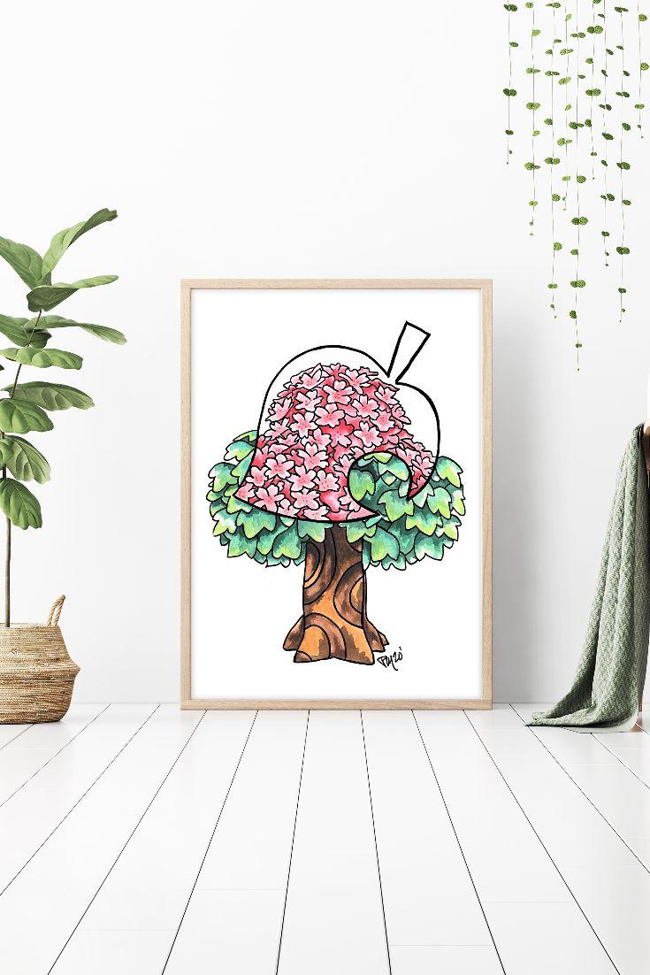Animal Crossing Print Sakura Watercolor Painting Cherry Etsy In 2021 Sakura Art Cherry Blossom Watercolor Tree Watercolor Painting