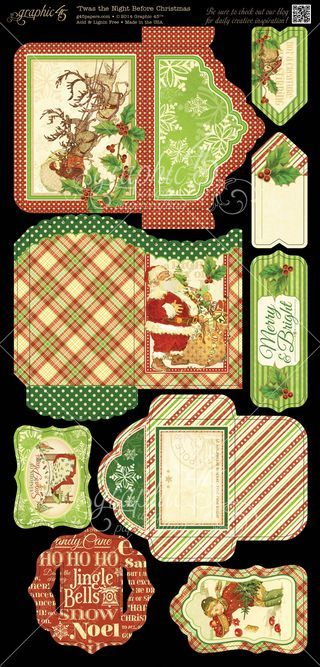 'Twas the Night Before Christmas Cardstock Tags & Pockets 2. In stores in August! #Graphic45