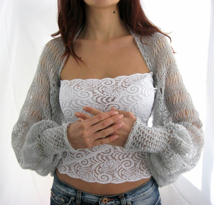 Hand Knitted Shrug.  via Etsy.