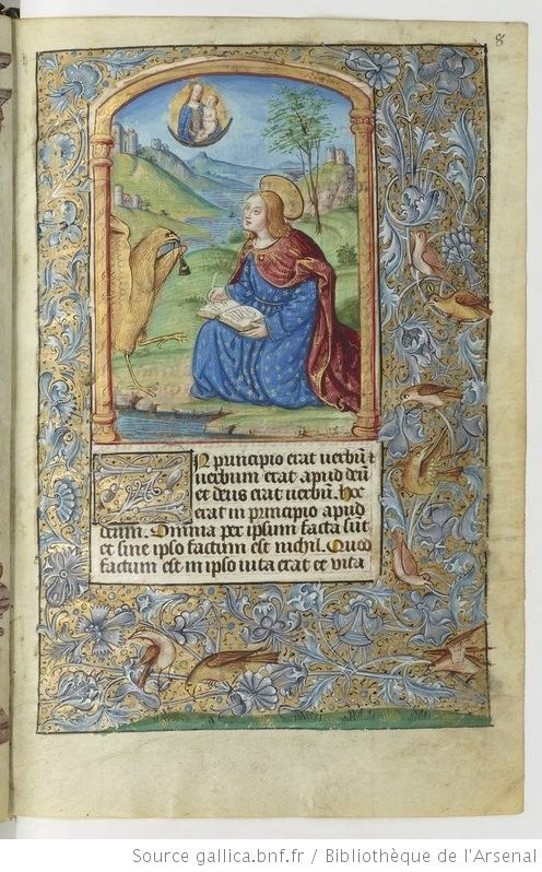 Horae (Rome) [Heures à l'usage de Rome] (c.1501-1550), by Noël Bellemare (14??-1546).  Latin manuscript, book of hours. Illumination depicts St. John (given eagle symbol next to him) https://en.wikipedia.org/wiki/Four_Evangelists