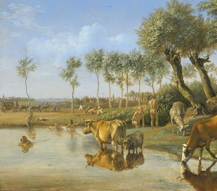 """Paulus Potter, """"Het spiegelende koetje"""", 1648. Nu te zien in onze Galerij Prins Willem V - Museum De Gevangenpoort - The Hague"""