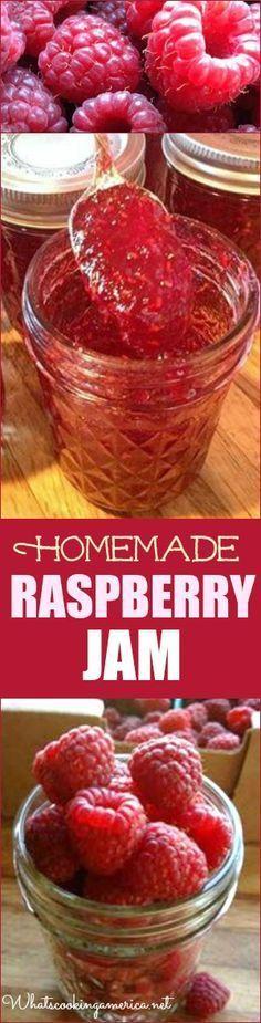 Homemade Raspberry Jam Recipe - Step by Step Tuturial & Video  |  whatscookingamerica.net  | #raspberry #jam #canning