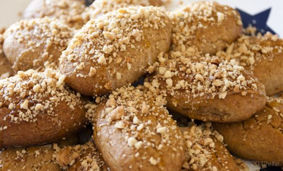 Melomakarona / Olive oil biscuits with honey syrup and walnut topping. Greek traditional Christmas Sweets http://agoragreekdelicacies.co.uk/christmas-recipes/4581460494