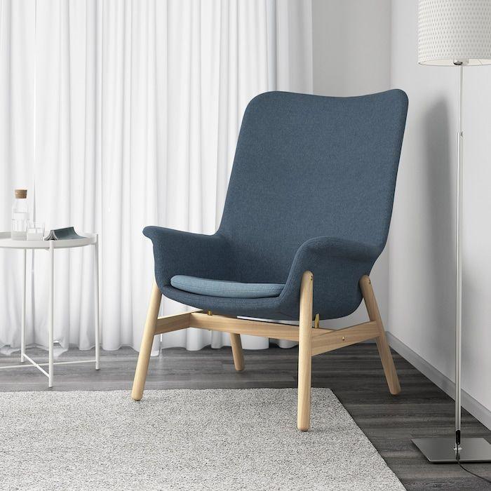 Vedbo Sessel Mit Hoher Ruckenlehne Gunnared Blau Ikea Osterreich Shabby Chic Table Chairs High Back Armchair Furniture