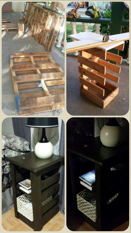 DIY set of pallet night stands. Used 2 Pallets pet stand plus old cabinet doors I had lying around for the shelves. Loved the way these turned out! Added simple $3.99 baskets from Ross and touch button self stick led night lights from ACE. Total spent $24.50 for baskets, lights, screws, and quart of paint!