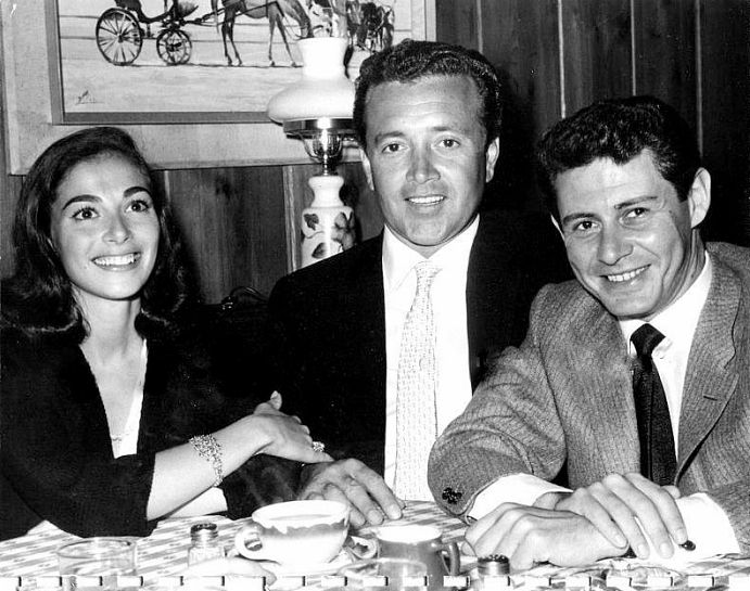 Pier Angeli with Vic Damone and Eddie Fisher